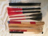 Wokingham Drum Sales - Loads of Drum Sticks / Brushes / Hot Rods / Holder / Bag- New & Used