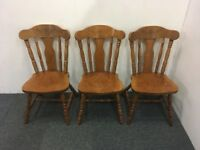 Set Of Three Solid Oak Dining Chairs