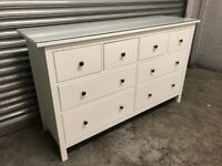 FREE DELIVERY IKEA HEMNES WHITE CHEST OF EIGHT DRAWERS WITH GLASS TOP GREAT CONDITION