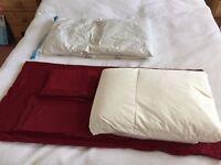 Ikea King Size Duvet, Burgundy Duvet Cover and 4 pillows