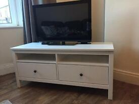 White Hemnes IKEA TV bench cabinet 124cm wide