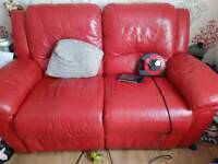 Red leather recliner sofa