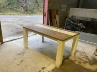 Solid wood dining table andatching side unit