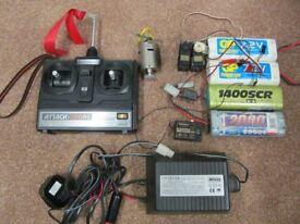 RC car transmitter receiver, servos, batteries, charger, motor