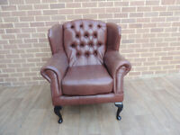 Queen Anne Wyvern Antique Brown Armchair Chesterfield (UK Delivery)