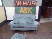 Green Fabric 2 seat Sofa and arm chair Delivery available