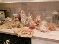 Wedding party sweet jars cart and sweets