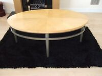 Contemporary light wood chrome oval coffee table & matching round lamp table - designer look