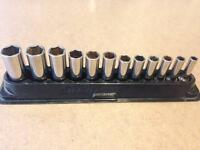 """Snap on deep sockets in magnetic tray 3/8"""" drive"""