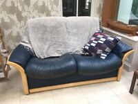 x2 Blue Leather Stressless 2 Seater Sofas