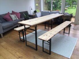Industrial Vintage German Beer Hall Kitchen Café Garden Table Set Natural Osmo Oil Finish