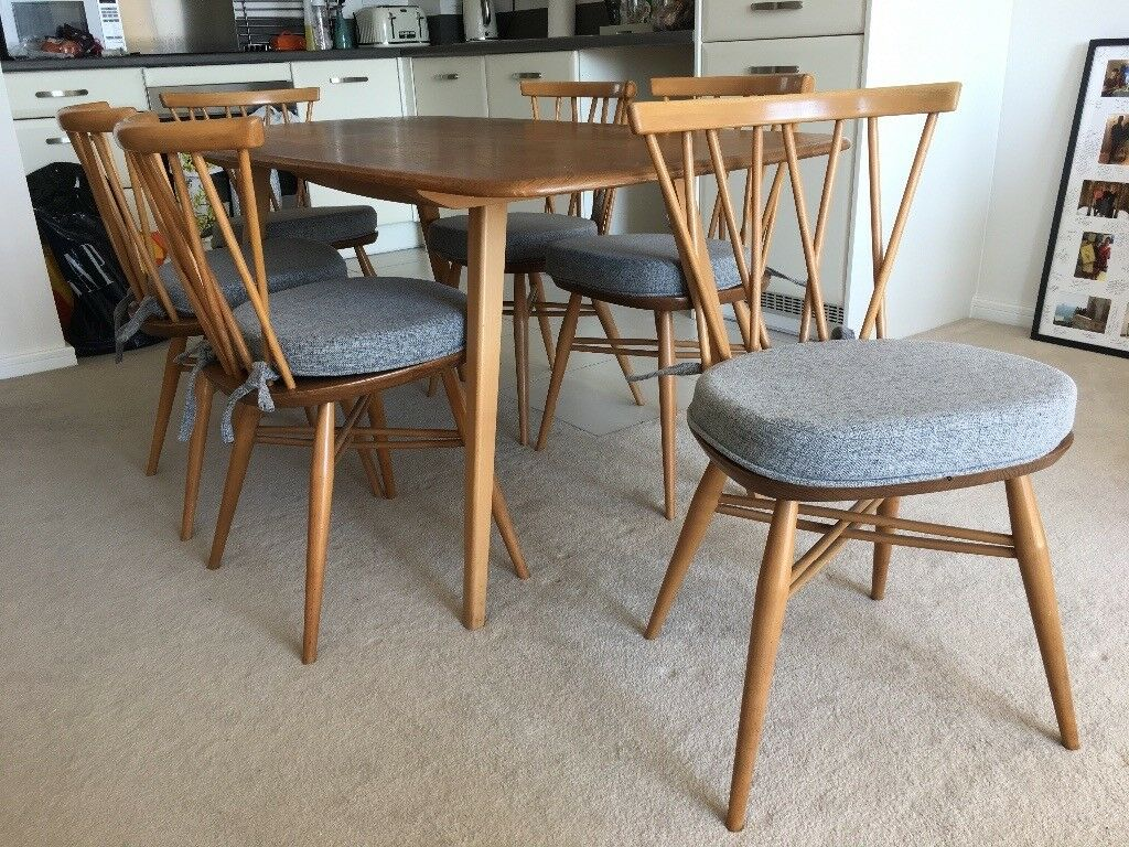 Ercol Dining Table 6 Chairs And Cushions