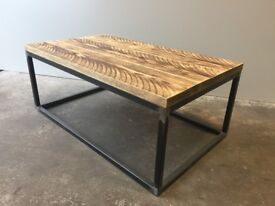 Industrial Reclaimed Scaffold Timber Coffee Table on Celia Style Steel Frame