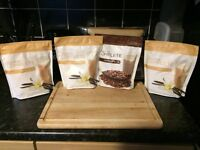Juice plus, 4 new 525g pouches, chocolate and vanilla. exp 9/17