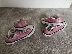 Girls pink converse trainers shoes