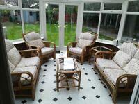 Conservatory Cane Wickerwork Furniture Suite. 6 piece set.