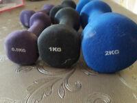 used x6 set of dumbbells: 2kg, 1kg and 0.5kg