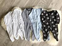 0-3 months sleep suits x 5 perfect condition NEXT
