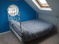 Double metal white bed for sale wrought bedhead
