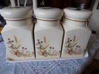 St Michael Harvest Tea Coffee Sugar Canisters and Tray