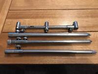 Nash extending 3 rod buzz bar plus JRC,solar,etc stainless steel bank sticks