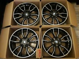 "* NEW 20"" INCH ALLOY WHEELS ALLOYS BLACK BMW 3 4 5 SEIRES F30 F10 M5 M3 M PERFORMANCE"