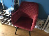 Armchair red velvet, new