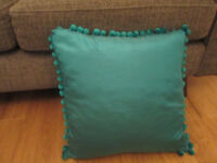TEAL POM POM CUSHION WITH FEATHER INSERT
