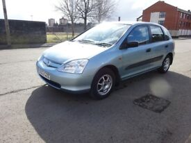 2002 HONDA CIVIC 1.4 PETROL,FULL YEAR MOT JUST DONE,SERVICE HISTORY,LOW MILEAGE,
