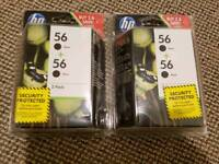 2x HP 56 Black Ink Cartridges Double Pack