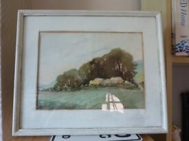 old collectible piece Lovely original Water Colour Picture by Ethel M Ashford Haystacks in the Sun