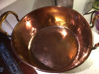 Antique Copper Jam Pan with Brass Handles