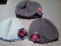 Lot of 3 NEW hand crochet baggy type hats fit all sizes quality