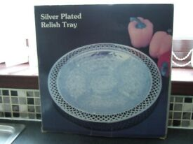 Silver-plated crystal glass Relish Tray, Unused, still in box. 5 sections within glass tray.