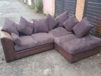 Stunning brown and chocolate cord corner sofa. Brand New clean and tidy. can deliver