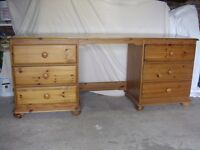 Antique Pine Dressing Table with 6 drawers and free standing swivel mirror