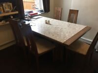 Large Wooden Marble Top Dinning Table with 6 Chairs and Side Board Set for Sale ** Good Condition**