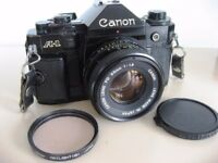 QUALITY CANON A-1 35mm SLR FILM CAMERA & f1.8 50mm LENS, FLASH & INSTRUCTIONS - TEST PHOTOS £100 ono