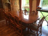 Dining table, chairs, sideboard and display cabinet