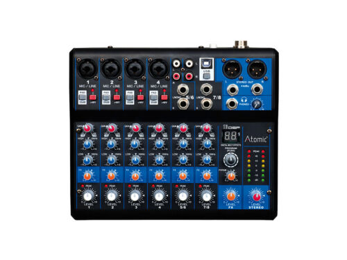 Mixer Atomic Pro MIX-S 402FX - 8 Way (4 Ch MONO - 2 Ch Stereo) With Effects