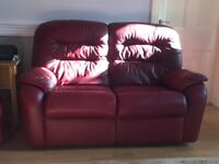 2 x 2 seater sofas g-plan leather in claret red