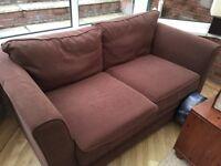 Brown 2-seater fabric sofa - free to good home