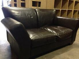 chocolate brown leather two seater, no rips or tears, collect from stockport.