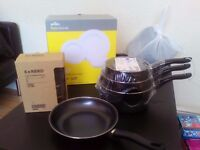 brand new cooking pots and frying pan, 12 piece dinner set and glass cups