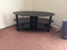 Black glass 3 tire tv stand
