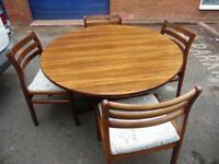 drop leaf table and 4 chairs 70s or 80s
