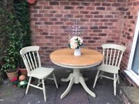 Shabby chic kitchen table with 3 chairs only.