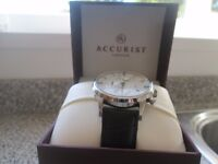 Accurist Men's Stainless & Black Leather Strap Watch