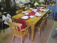 STUNNING SOLID PINE FARMHOUSE RECTANGULAR TABLE WITH DRAWER & 6 ORNATE CHAIRS.VIEWING/DELIVERY POSS