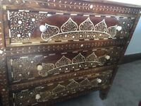 Beautiful and very Intricate 3 drawer chest in brand new condition